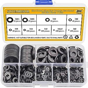 Sutemribor Black Zinc Plated Alloy Steel Flat Washers Set 580 pcs, 9 Sizes - M2 M2.5 M3 M4 M5 M6 M8 M10 M12
