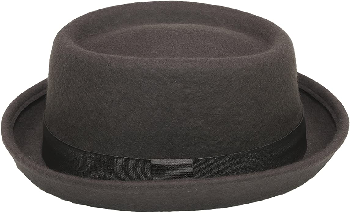 e62c40fd Hat Pork Pie Trilby wool felt 100% unisex band brim fedora jazz (57 cm,  Brown): Amazon.co.uk: Clothing