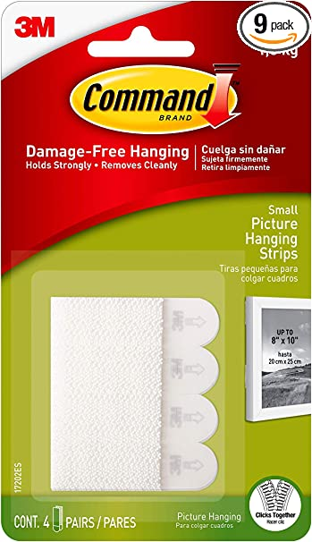 3M COMMAND DAMAGE FREE LARGE PICTURE HANGING STRIPS PACKAGE 34 PAIRS 68 STRIP