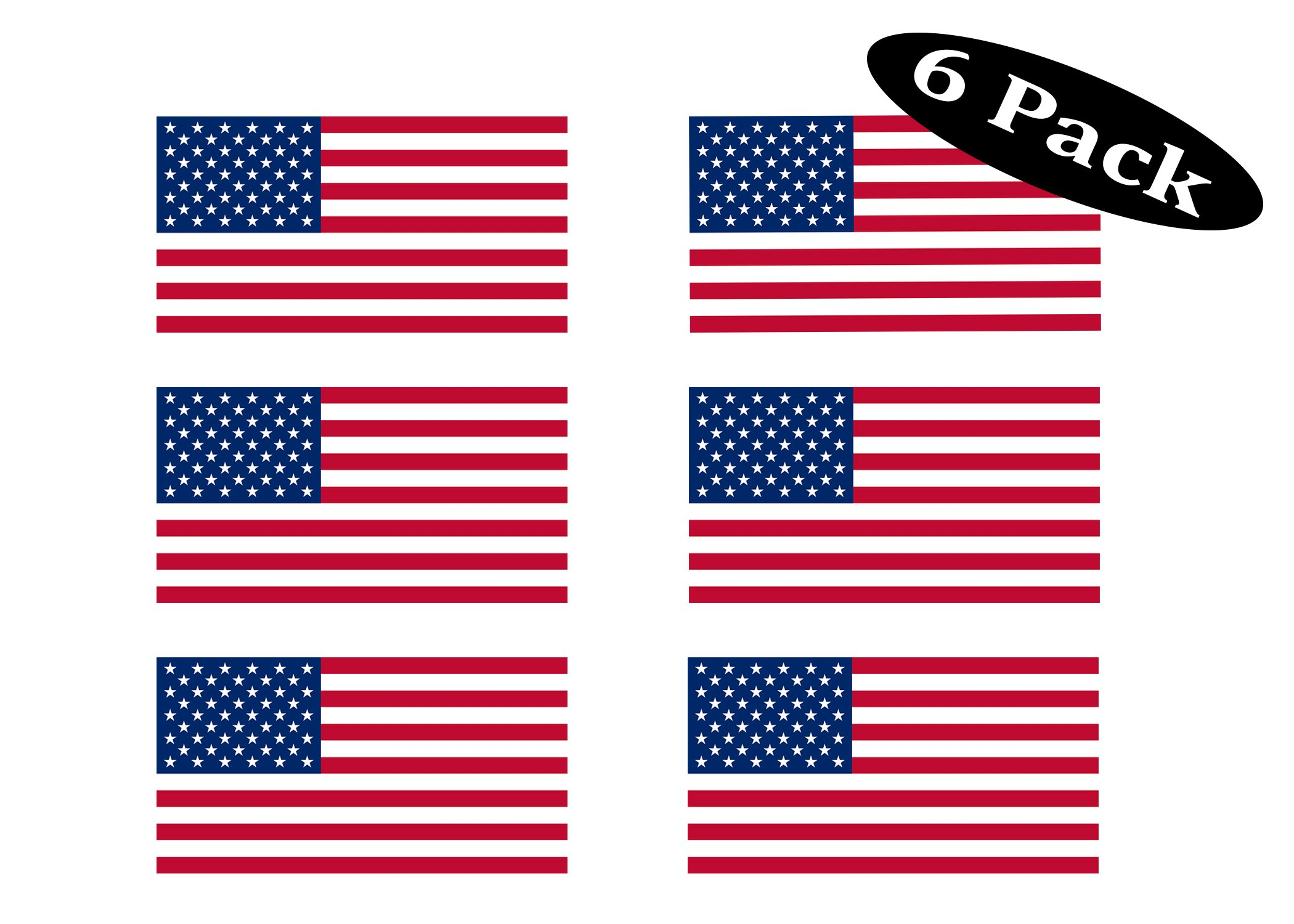 """Pack of 6 USA Flag Stickers United States Work Hard Hat Biker Helmet Stickers Decals Toolbox 1""""x 2"""""""