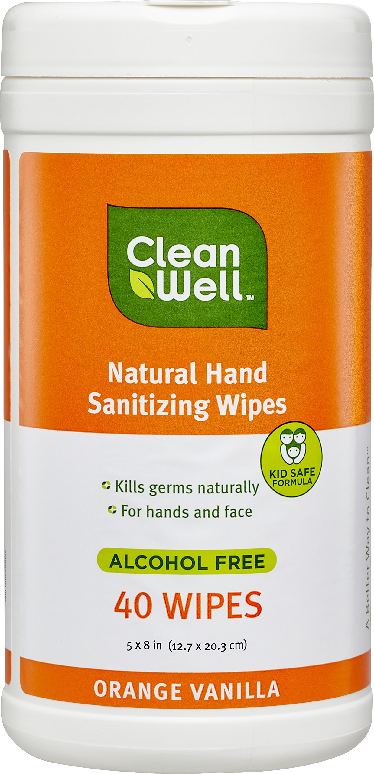 CleanWell Botanical Hand Sanitizing Wipes Canister - Orange Vanilla Scent, 40 Count - plant-based, alcohol-free, kid friendly, kills germs botanically