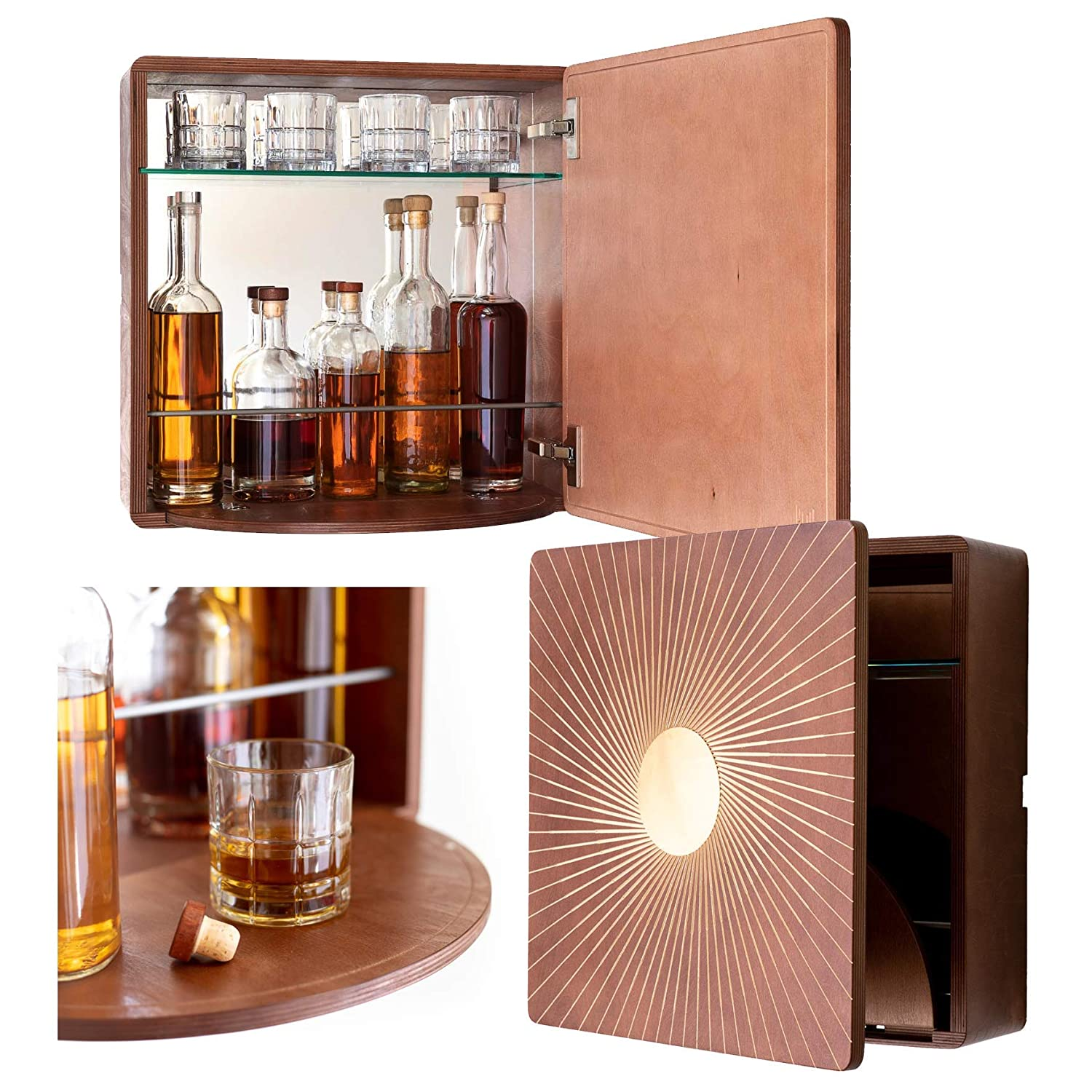 Brown KARVD Sol Wall Mounted Liquor Cabinet