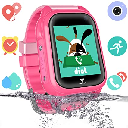 Niños Impermeable Smartwatch con rastreador de GPS - Niño niña IP67 Impermeable Mirar Telefono con cámara Juegos Relojes Deportivos Regreso a la ...