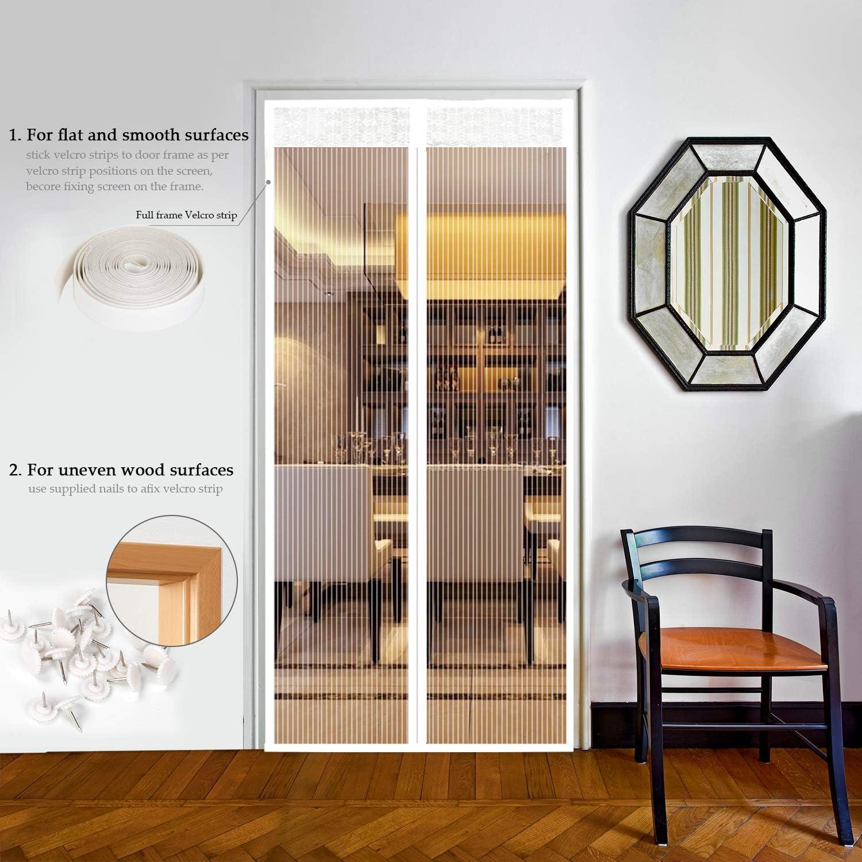 EXTSUD Mosquitera Puertas Cortina Mosquitera Magnética para Puertas Protección contra Insectos para Puerta de Balcón Sala de Estar Puerta de Patio, Blanco (90 x 210cm): Amazon.es: Jardín