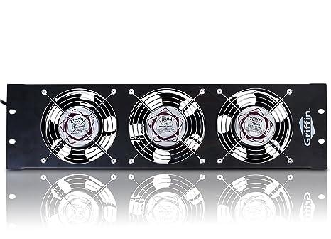 Rackmount Cooling Fan by Griffin - 3U Ultra-Quiet Triple Exhaust Fans, Keep  Studio Equipment Gear Cool, Rack Mount on Network IT Server & UL Approved,