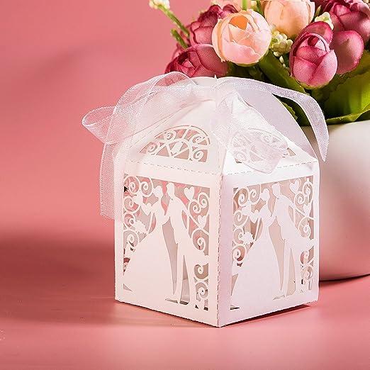 99 opinioni per JZK® 50 x Sposa e sposo, scatolina scatola portaconfetti bomboniera segnaposto