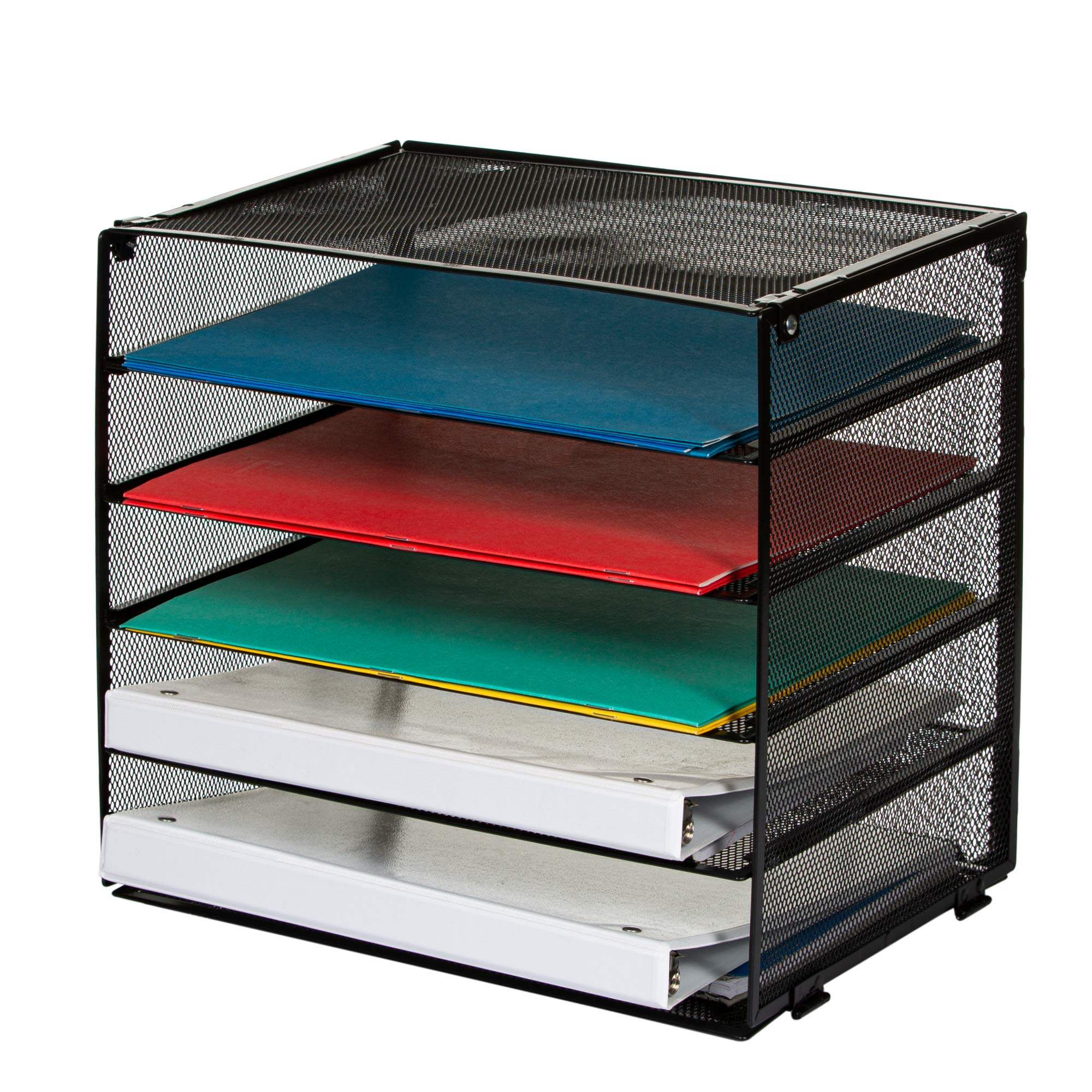 Paper Organizer - Desk File Sorter - 5 Tier Letter Tray for Office - Large Mesh Metal Tray for Paperwork and Files - Stackable Trays and Sorter with Retractable Tiers - Heavy Duty Metal Construction by vroomo