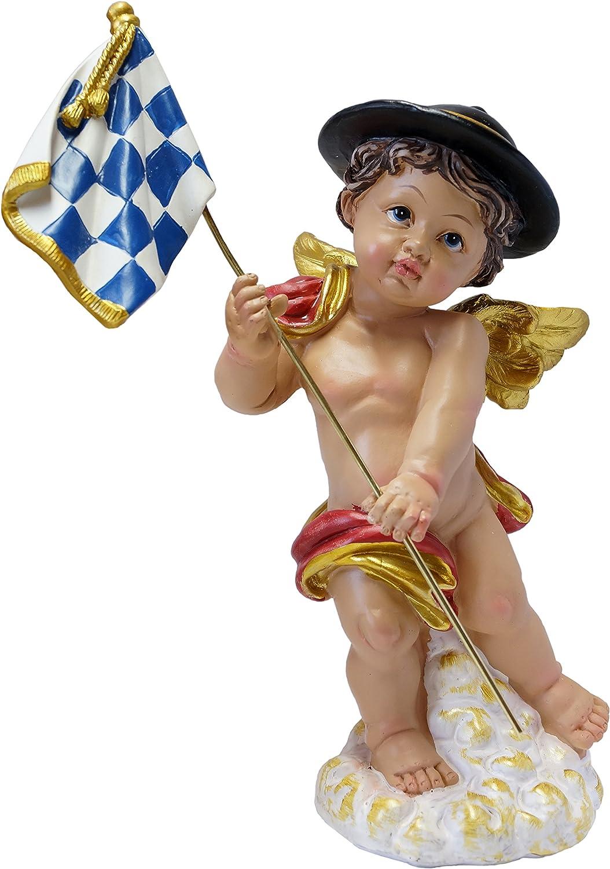 Figura Decorativa de /ángel con Bandera de Baviera Kaltner Pr/äsente Ideal como Regalo a Rombos Blancos y Azules
