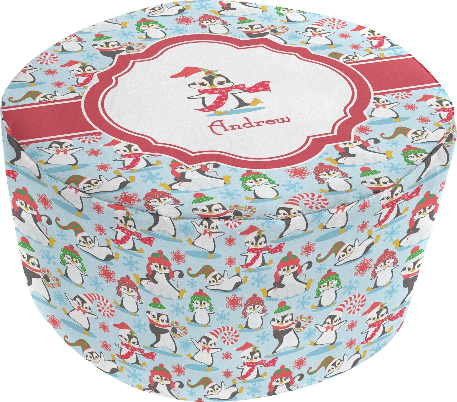 Christmas Penguins Round Pouf Ottoman (Personalized)