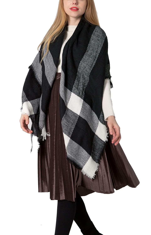 6b12827570f1 Yidarton Écharpe Chale Femme Cachemire Chaud Automne Hiver Grand Plaid  Tissu Glands Foulard (Blanc Noir)  Amazon.fr  Vêtements et accessoires