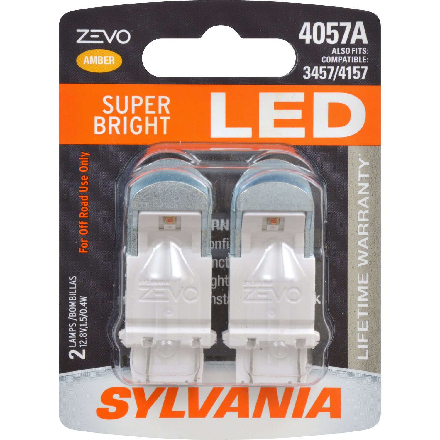Contains 2 Bulbs Ideal for Daytime Running Lights DRL SYLVANIA 4057 ZEVO LED White Bulb and Back-Up//Reverse Lights Bright LED Bulb