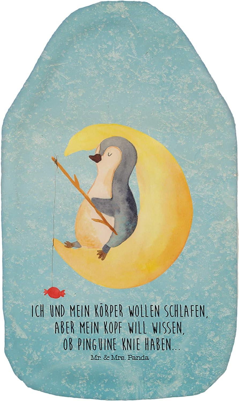 Kinderw/ärmflasche Mr /& Mrs Farbe Eisblau W/ärmflasche Pinguin Mond mit Spruch Panda W/ärmekissen