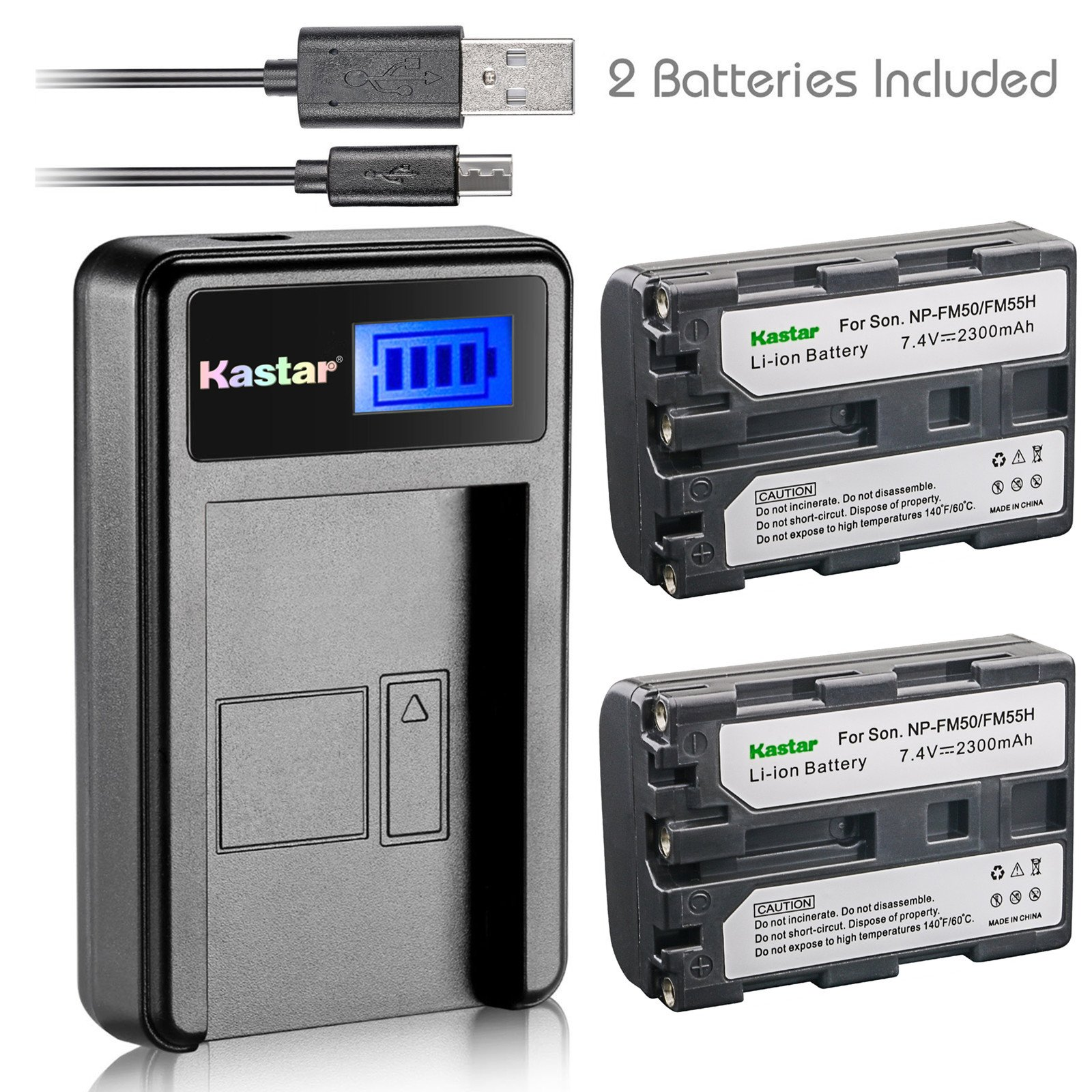 Kastar Battery (X2) & LCD Slim USB Charger for Sony NP-FM50 NP-FM55H & HC1 TRV280 TRV350 TRV250 TRV19 TRV22 TRV27 TRV33 TRV460 TRV140 TRV17 TRV340 TRV38 TRV480 TRV260 TRV138 TRV608 DVD101 DVD201 D1000