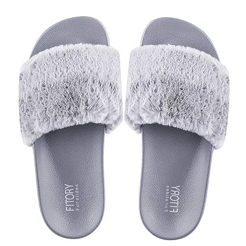 buy online e6f78 0f27f FITORY Damen Hausschuhe Plüsch Süße Weiche Indoor/Outdoor Pantoffeln mit  Pelz Rutschfeste