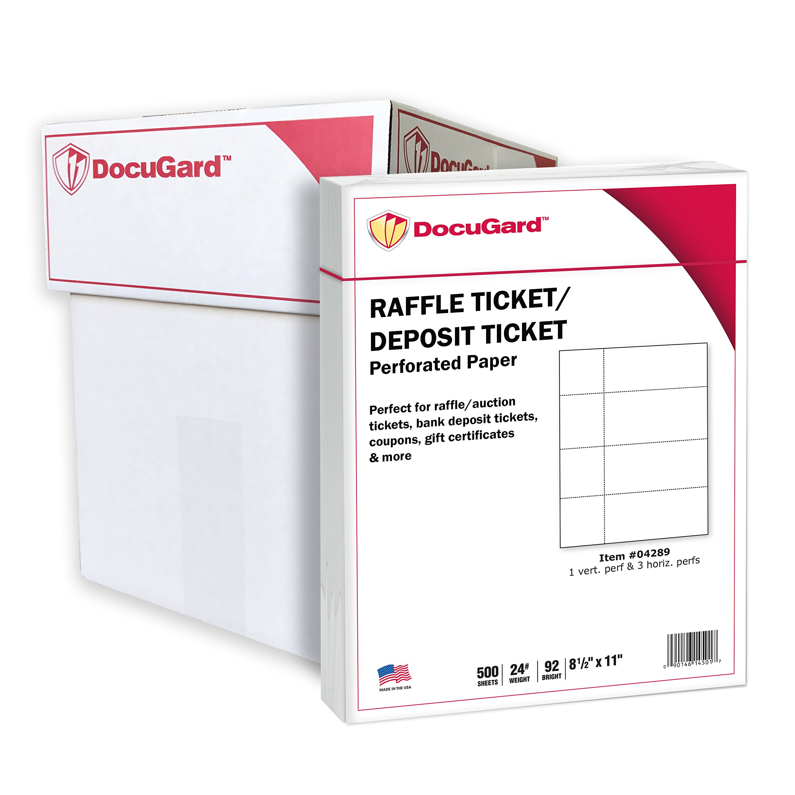 DocuGard Perforated Paper for Deposit Tickets, Raffle Tickets, and More, Tear-Away Stubs, 8.5 x 11, 24 lb, 4 Perfs, 500 Sheets, White (04289) (Pack of 5) by DocuGard