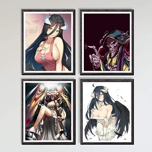 MS Fun Overlord White Demon Albedo Sexy Anime Girl Canvas Art Print,8 x 10 Inches,No Frame,Set of 4