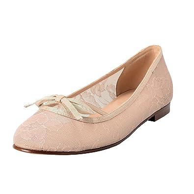 bda0ec0169a9 Valentino Garavani Women s Vintage Beige Lace Ballerinas Flat Shoes US 7 IT  ...