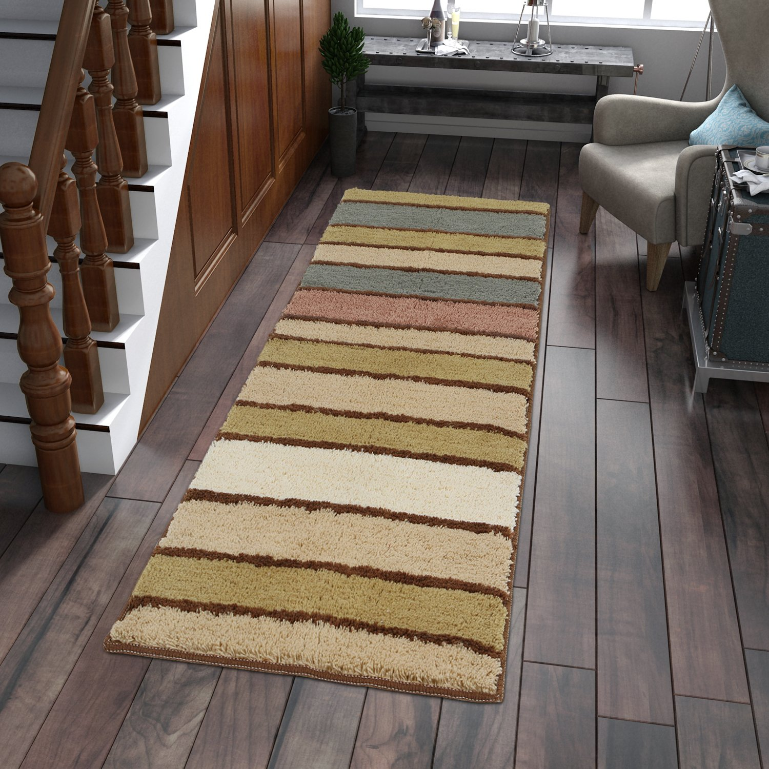 Lifewit Multicolor Stripe Long Area Runner Rug 60 x 180cm (2x6 feet) Vintage Saxony Woven Hallway Runners (Style-2)