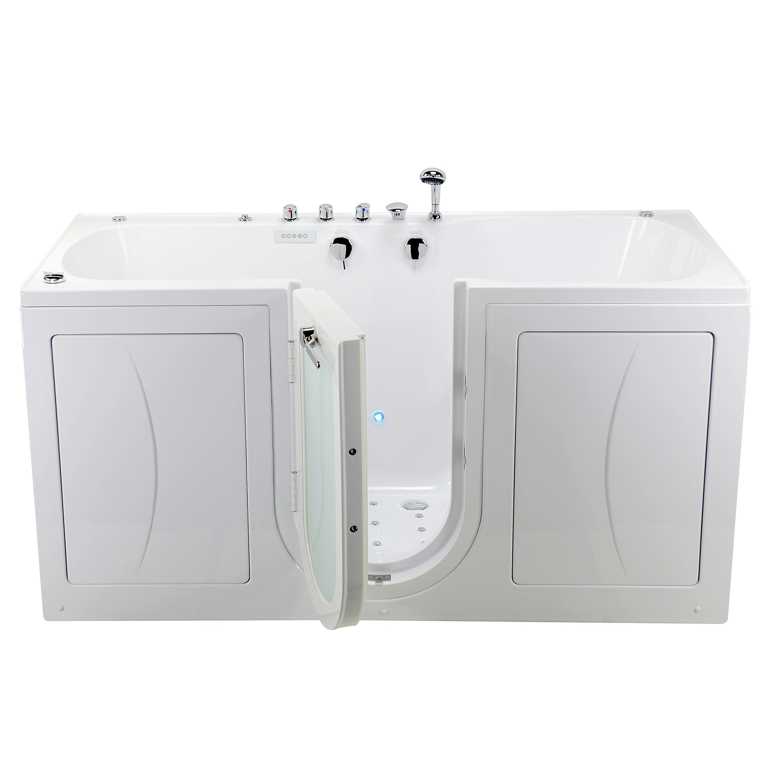 Ella's Bubbles O2SA3680TMF Big4Two Acrylic Triple Massage and Microbubble Outward Swing Door Walk-in Bathtub with Fast Fill Faucet Set, Two Seats, Center 2'' Dual Drains, 36'' x 80, White