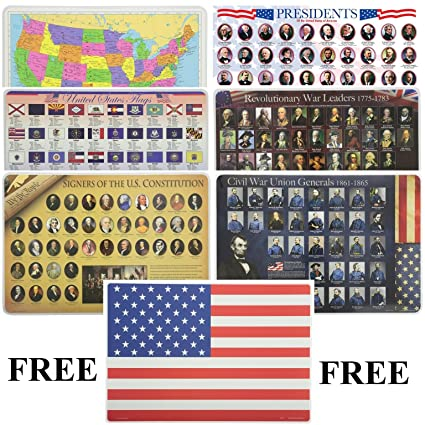 Painless Learning Educational Placemats for Kids USA Map, Presidents,  United States Flags, Revolutionary War Leaders, Civil War Union Generals,  ...