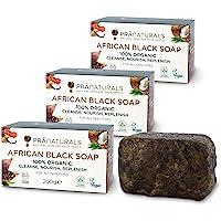 PraNaturals 100% biologische rauwe Afrikaanse zwarte zeep 3x 200g, ethisch geproduceerd en handgemaakt in Ghana, voor…