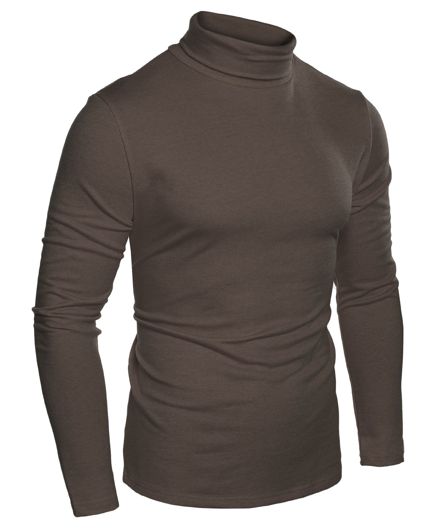 Coofandy Mens Casual Basic Thermal Turtleneck Slim Fit Pullover Thermal Sweaters, Brown, X-Large