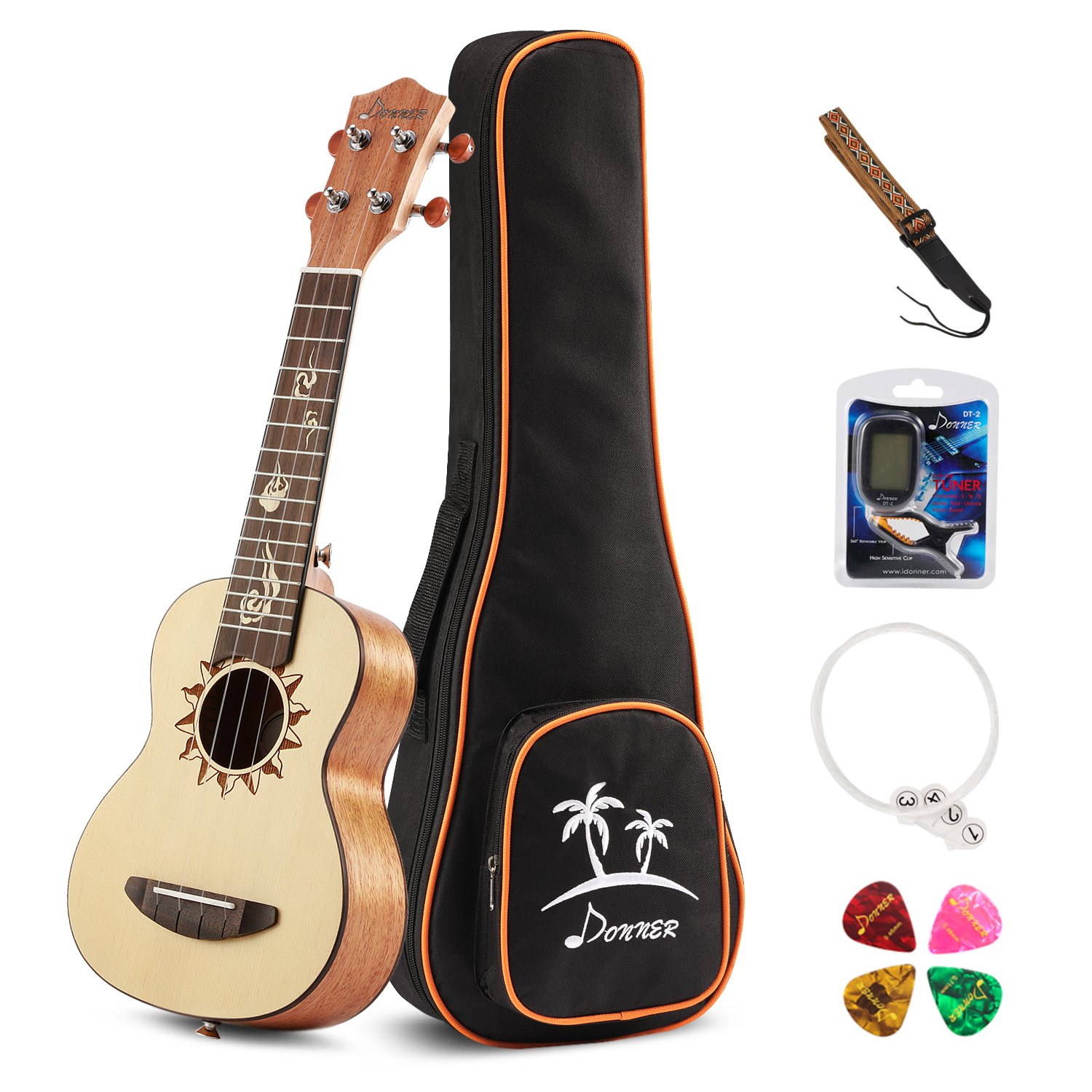 Donner Tenor Ukulele DUT-3 26 inch Spruce Body Sun Pattern Ukulele Kit with Tuner Strap String Case DUT-1