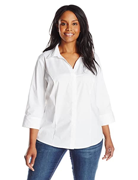 486be05798b Riders by Lee Indigo Women s Plus Size Easy Care ¾ Sleeve Woven Shirt at Amazon  Women s Clothing store