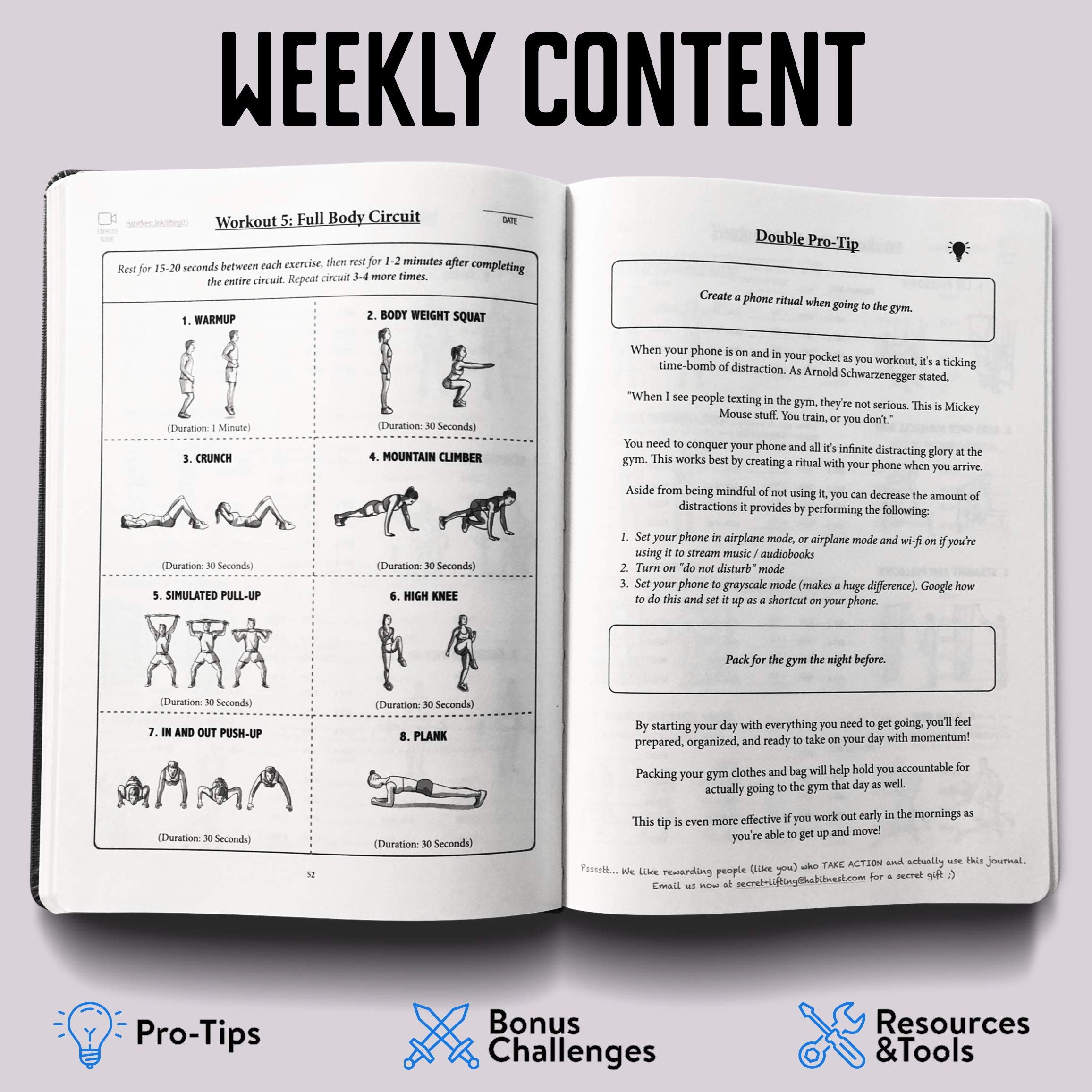 Habit Nest The Weightlifting Gym Buddy Journal. A 12-Week Personal Training Program in A Journal, with Workout and Exercise Journal/Log. Your Ultimate Fitness Planner. by Habit Nest (Image #4)