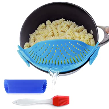 Clip-on kitchen food strainer for spaghetti, pasta, ground beef grease and more, colander and sieve snaps on bowls, pots and pans, Set includes silicone brush & garlic peeler by Salbree, Light Blue