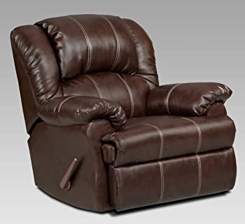 Roundhill Furniture Brandan Bonded Leather Dual Rocker Recliner Chair, Oversize