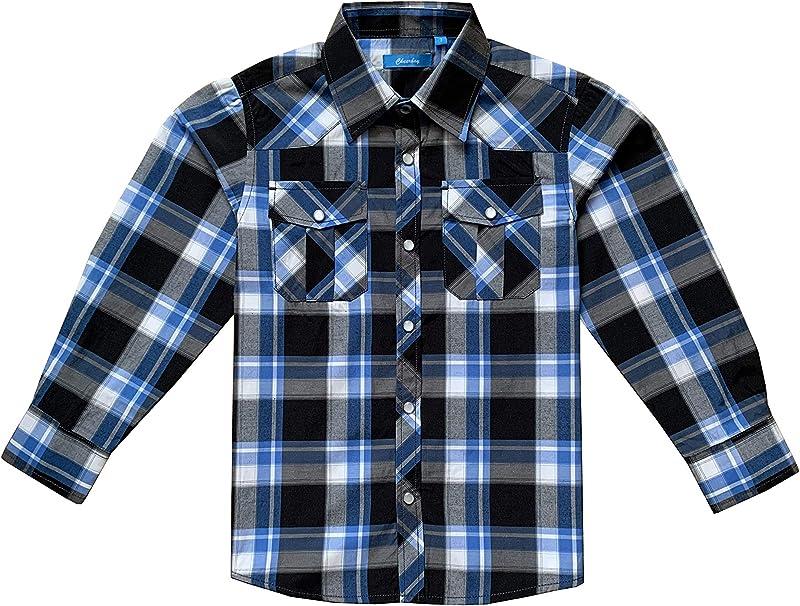 Wrangler Boys Long Sleeve Plaid Western Snap Shirt