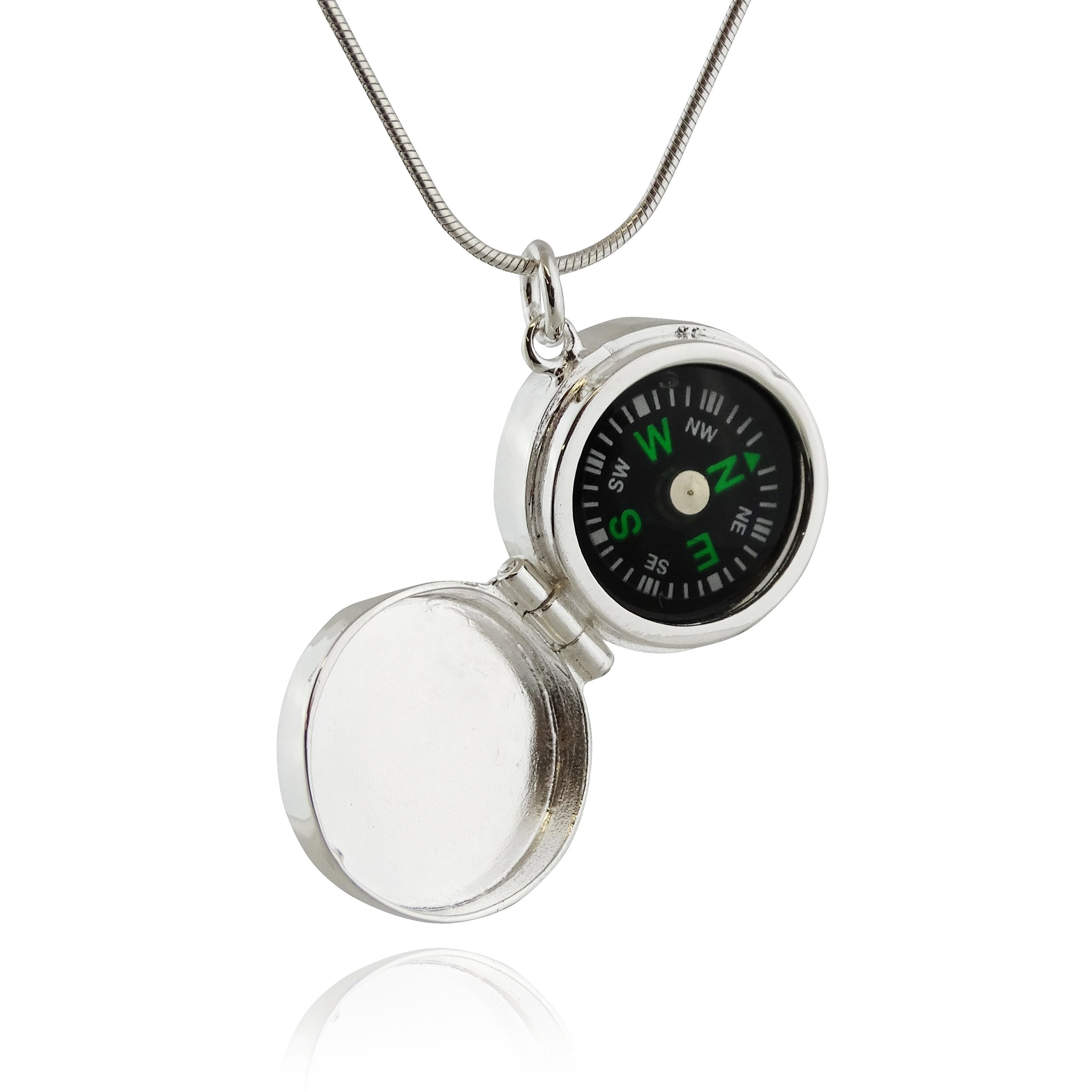 FashionJunkie4Life Sterling Silver Working Compass Locket Necklace, 18'' Snake Chain