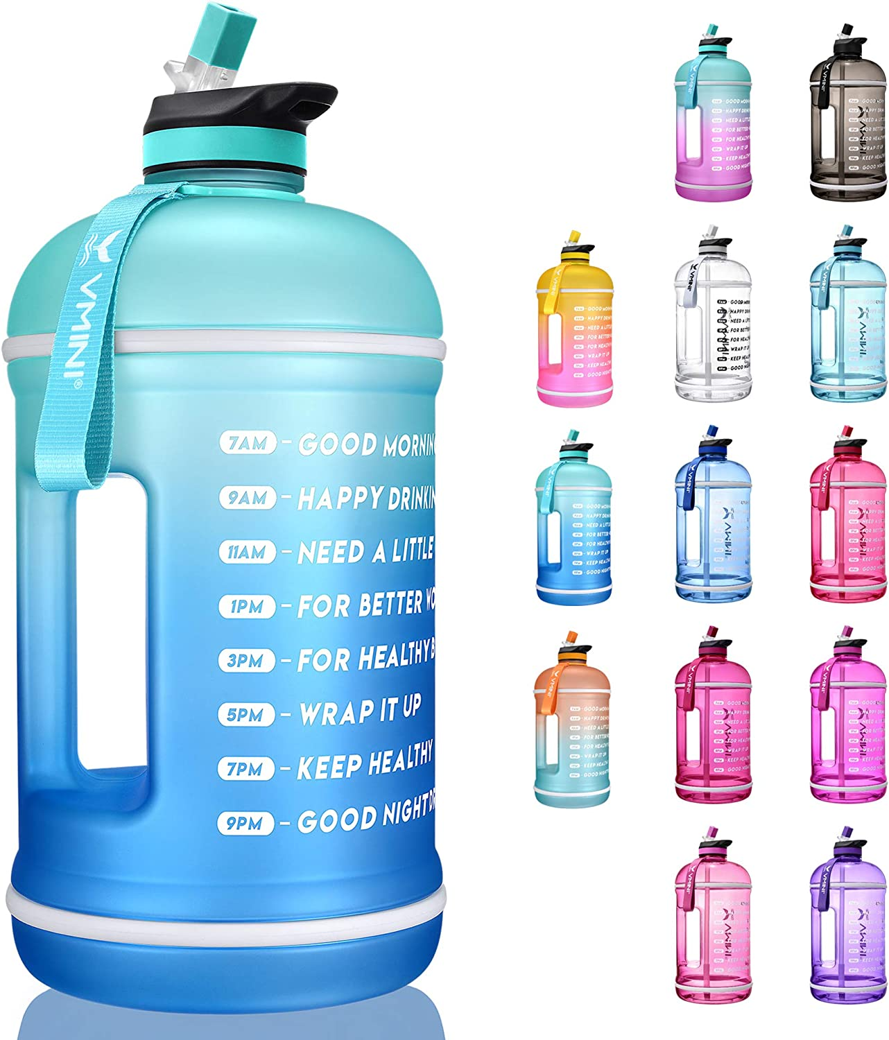 Vmini Water Bottle with Time Marker, Motivational Water Bottle & 1 Gallon Water Bottle with Time Marker to Drink More Daily - Leakproof Reusable Gym Sports Outdoor Large Capacity (128 oz, Mint+Blue)