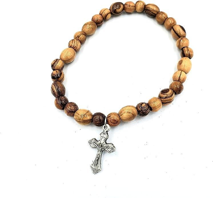 First Communion Girl Guardian Angel Olive Wood Rosary Bracelet Handstamped Personalized Gift Jerusalem Olive Wood Custom Gift