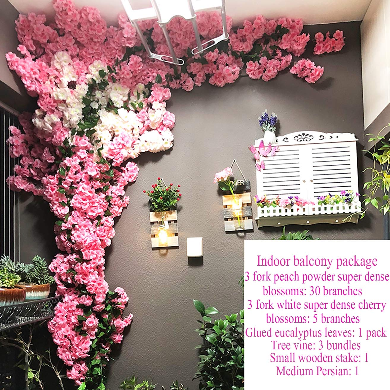 Artificial Flower Champagne Light Pink Cherry Blossom Tree Fake Vines  Flowers for Wedding Party Ceremony Home Decor Silk Sakura Flowers,D