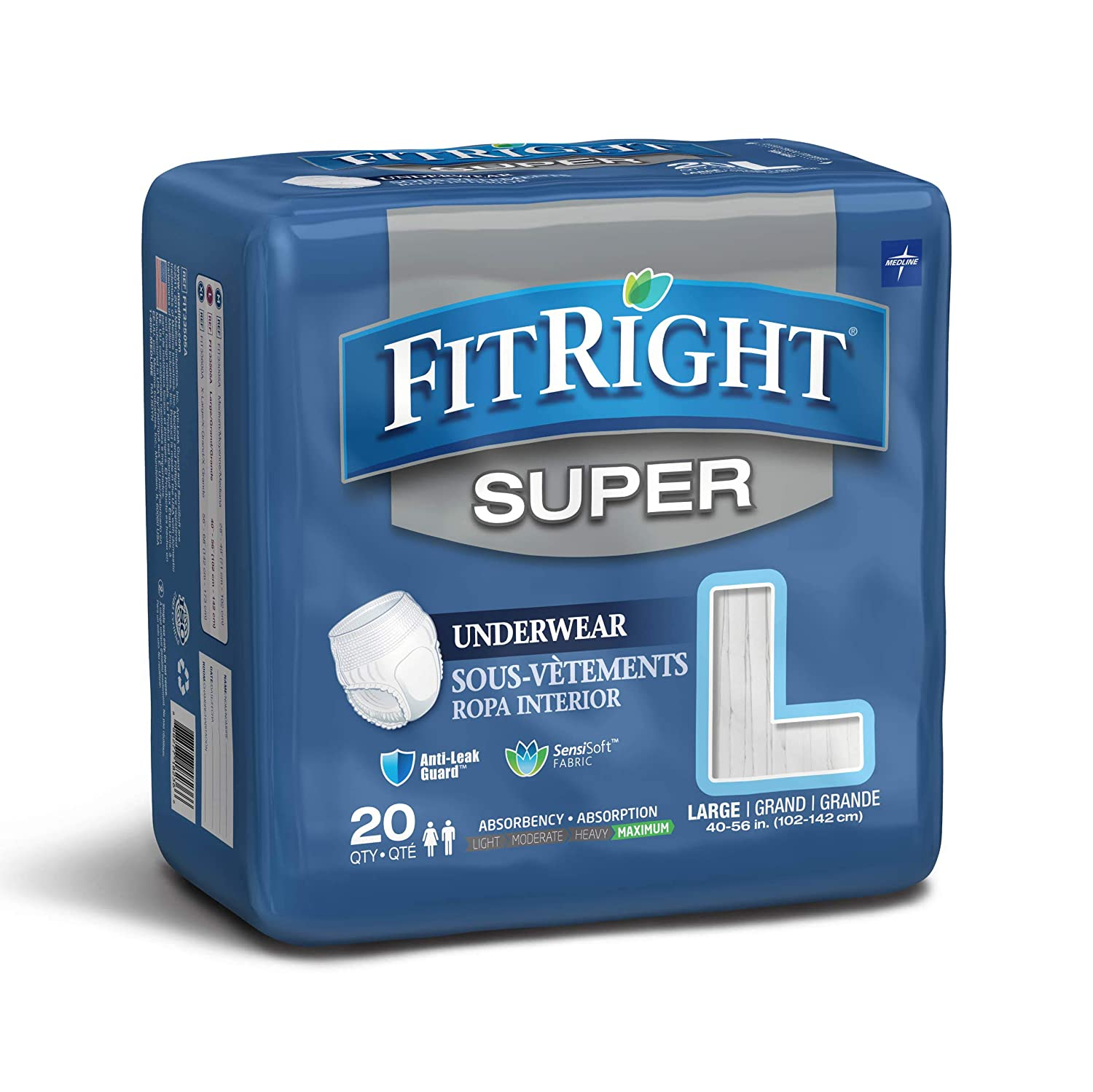 """Medline FitRight Super Adult Incontinence Underwear, Maximum Absorbency, Large, 40""""-56"""", 4 Packs of 20 (80 Total) FIT33505A"""