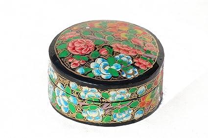 tribesmangold -- decorativo hecho a mano caja de joyería de papel maché pintadas/recuerdo