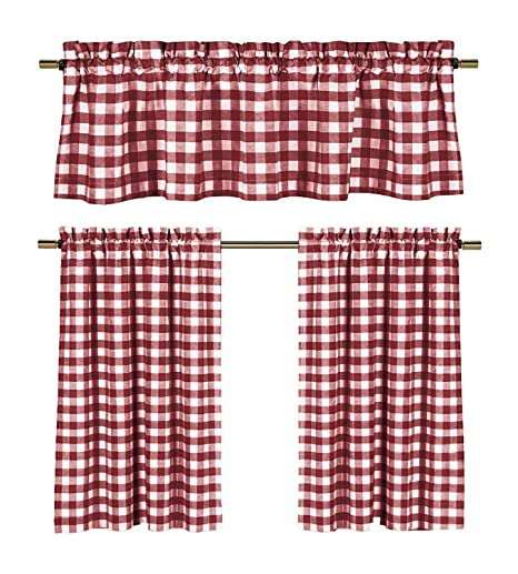 Awe Inspiring Wine Red White Kitchen Curtains Gingham Checkered Plaid Design Download Free Architecture Designs Grimeyleaguecom