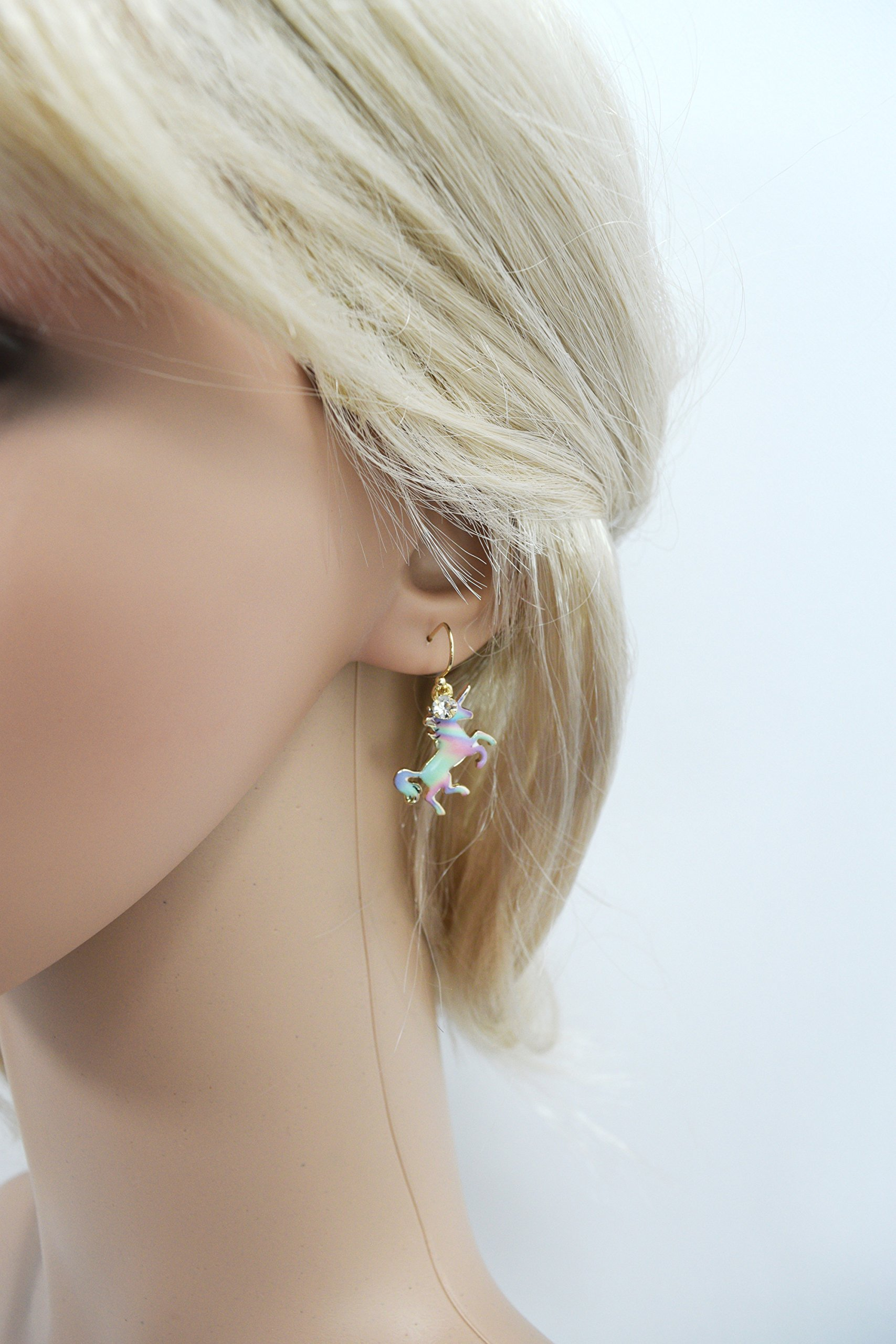 Skelapparel Mystic Unicorn Iridescent Rainbow Unicorn Earrings 4