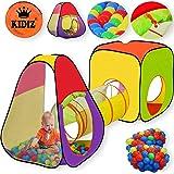 KIDIZ Spielzelt Spielhaus Babyzelt 200 Bälle Bällebad Kinderzelt | Ideal für Zuhause & im Garten | Tasche | Tunnel, 2 verschiedene Größen