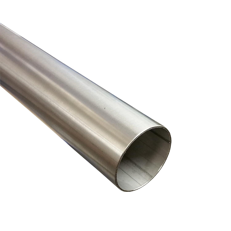 Tubo de acero inoxidable 50 mm de diá metro x 1000 mm (1 m) V2 A Tubo de escape Tubo de acero inoxidable 1.4301 Alutec