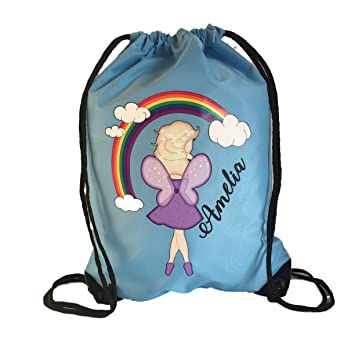 Personalised Blue Kids Rainbow Fairy Theme Drawstring Swimming ... 79a9de8122db0