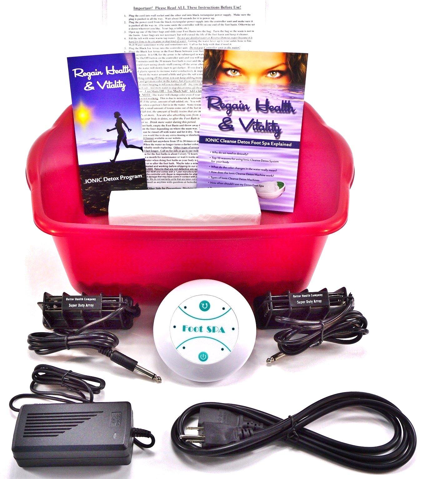 Ionic Foot Cleanse. Foot Bath Spa. Detox Foot Spa Machine. 2 Super Duty Arrays an extra $60.00 Value. FREE Reagin Health & Vitality Booklet & Brochure.