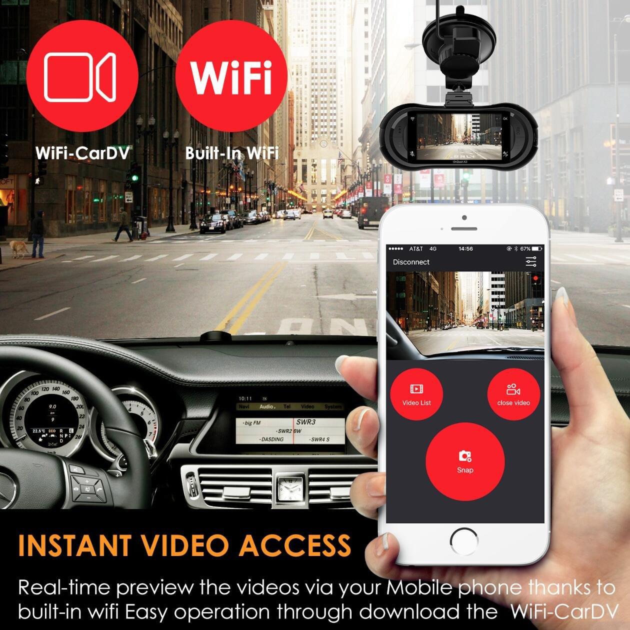 Vantrue X3 WIFI Dash Cam, Super HD 2.5K Car Dashboard Camera 1440P Car Camera with Ambarella A12 Chipset, 170°Wide Angle, Super HDR Night Vision, Loop Recording, Parking Mode, Motion Detection by VANTRUE (Image #3)