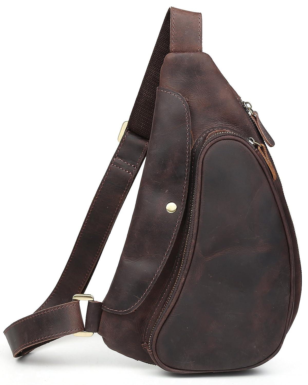 [(チョウギュウ) 潮牛] 本革 メンズ ボディバッグ ワンショルダーバッグ 斜め掛けバッグ マチ拡張 ヌメ革 オイルレザー 牛革 鞄 B01KLPCDKI