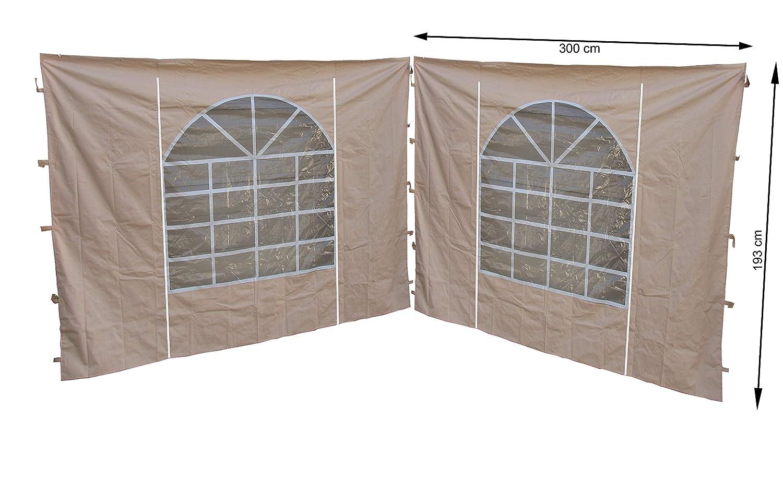 Quick-Star 2 pareti Laterali con Finestra in PVC 300 x 195 cm per Gazebo Sahara 3 x 3 m Parete Laterale Sabbia Quick-Star GmbH