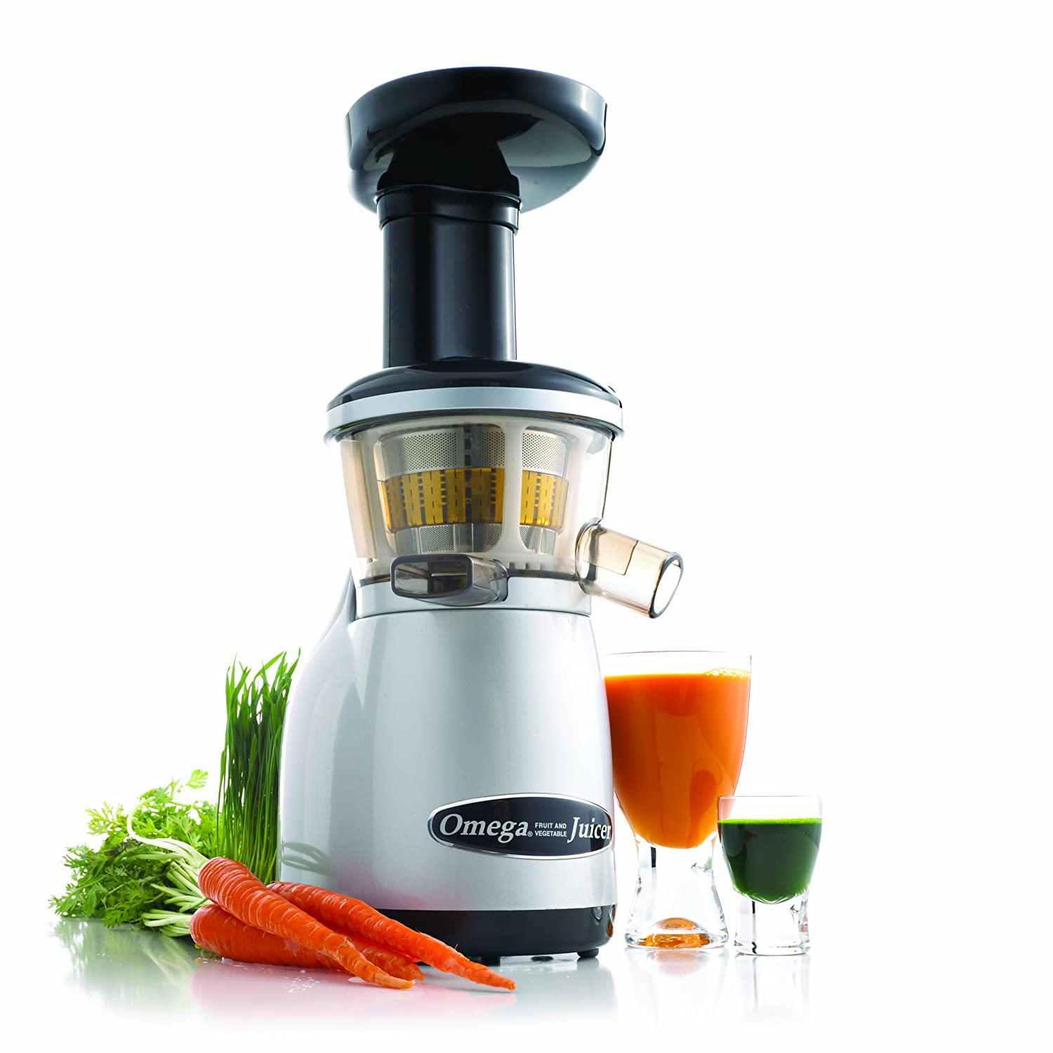 Omega Juicers VRT350 Vertical Slow Masticating Juicer Makes Continuous Fresh Fruit and Vegetable Juice at 80 Revolutions per Minute Features Compact Design Automatic Pulp Ejection, 150-Watt, Silver