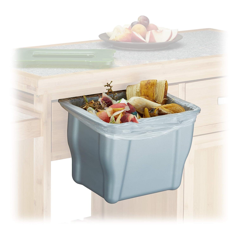 Relaxdays – Cubo de Basura para la Cocina, H x B x T: 17,5 x 24,7 x 15,3 cm, para Orgánica, con Tapa, 5 litros, Antracita