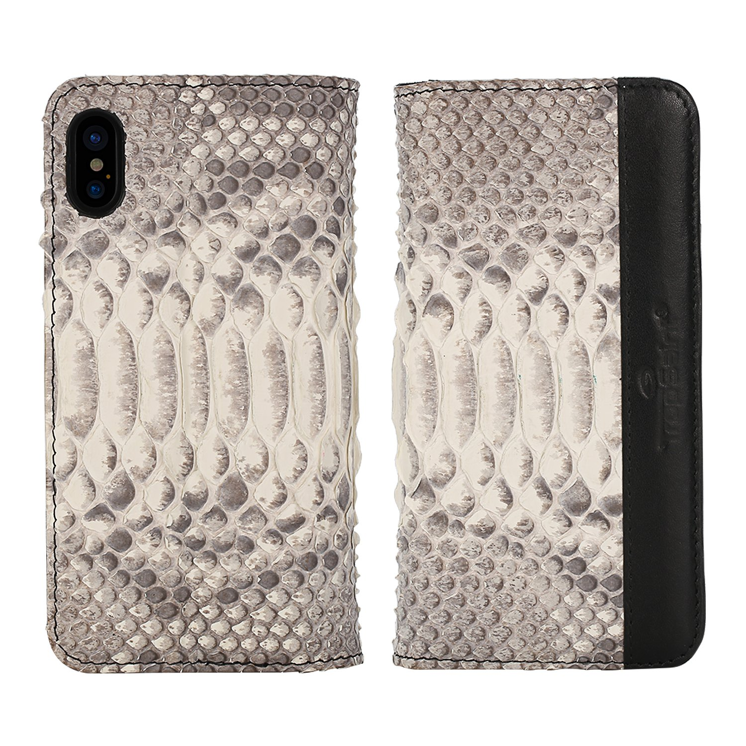 Luxury Wallet Cover For iPhone X - Hand Made from Genuine Python Skin, Premium Case by Trop Saint - Natural